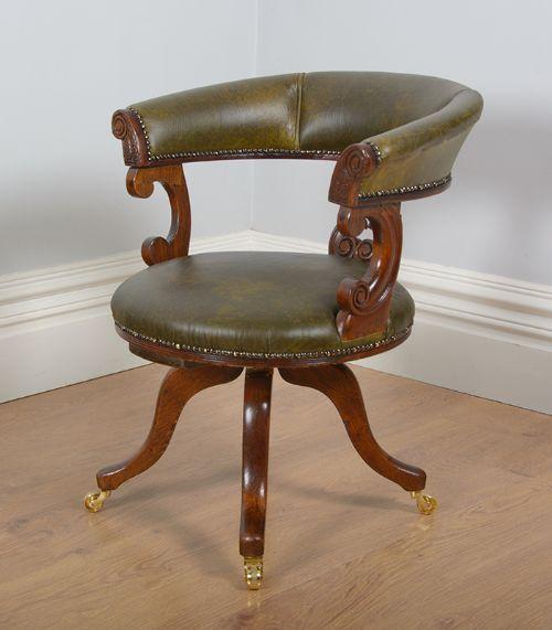 Victorian Oak & Leather Revolving Office Armchair (circa ...