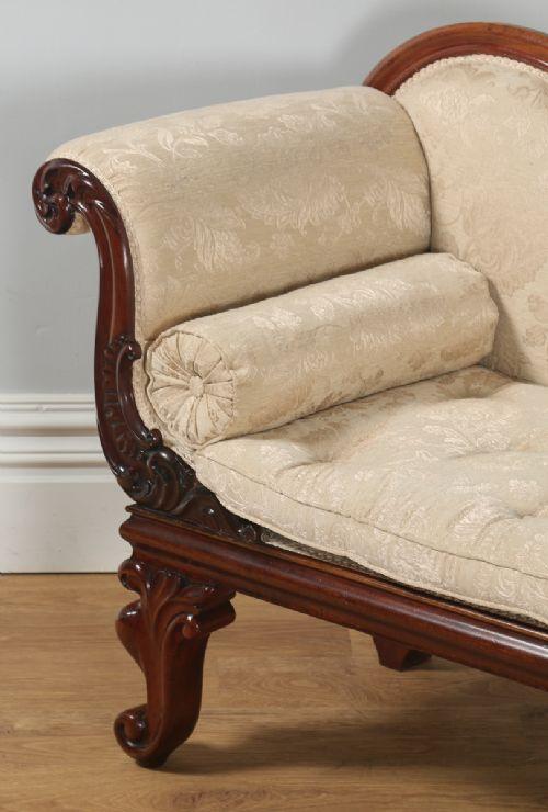 Antique English William Iv Carved Mahogany Upholstered