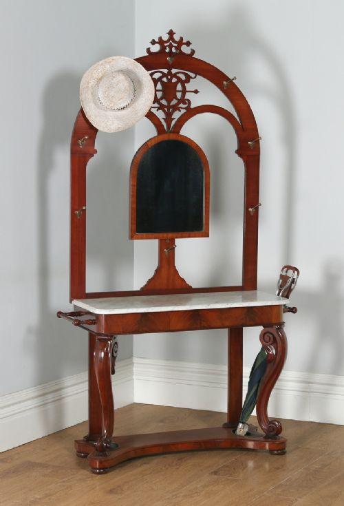 antique english victorian mahogany marble coat hat stick umbrella hallstand with mirror circa 1870