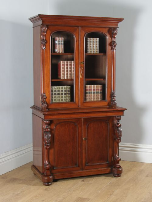 antique anglo indian victorian colonial campaign mahogany two door glazed library office bookcase cupboard circa 1870