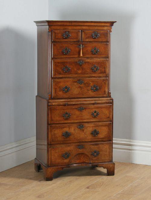 antique english georgian style burr walnut inlaid tallboy chest on chest of drawers circa 1910