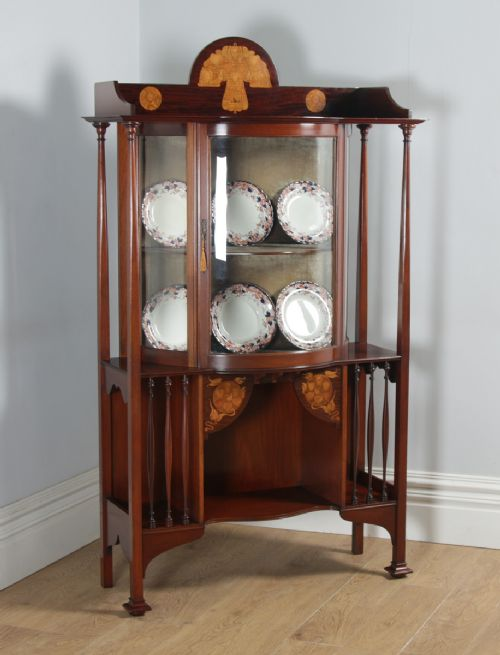 antique edwardian art nouveau mahogany satinwood inlaid glass display cabinet by d hill carter co of west hartlepool circa 1910