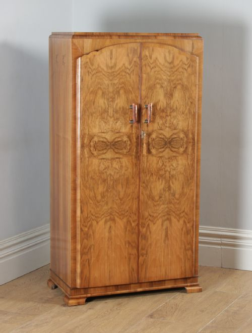 antique english art deco burr walnut two door armoire wardrobe circa 1930