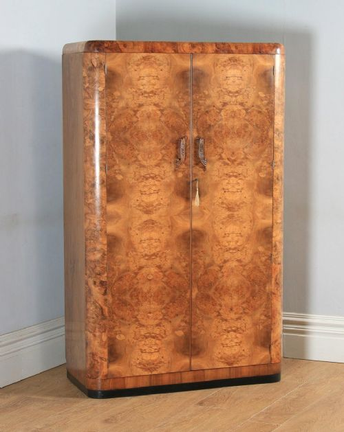 antique english art deco burr walnut two door armoire wardrobe circa 1930