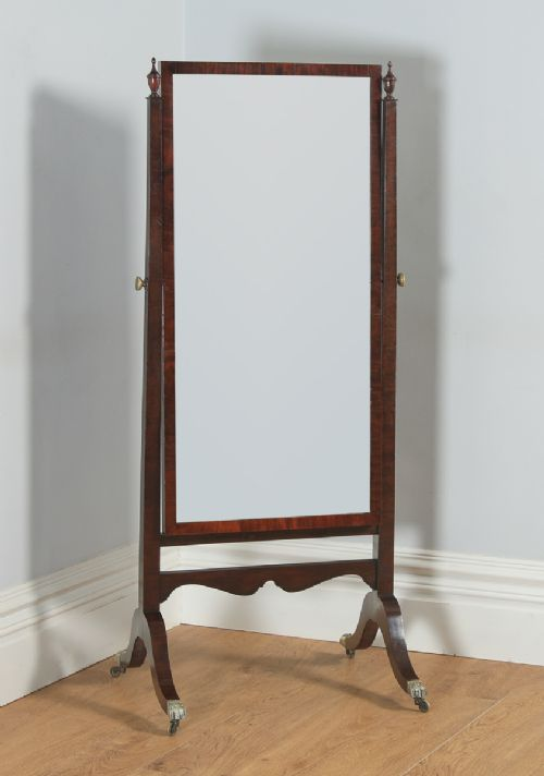 antique english georgian regency mahogany floor standing rectangular cheval dressing mirror circa 1820
