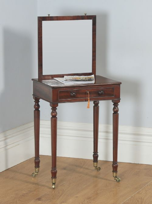 antique english georgian mahogany dressing side table with adjustable mirror attributable to gillows of lancaster circa 1820