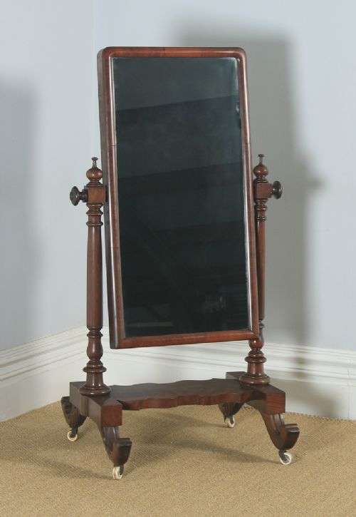antique english victorian flame mahogany floor standing rectangular cheval dressing mirror circa 1860