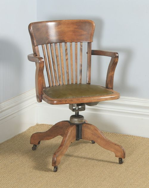 antique english edwardian solid beech green leather revolving office desk arm chair circa 1910