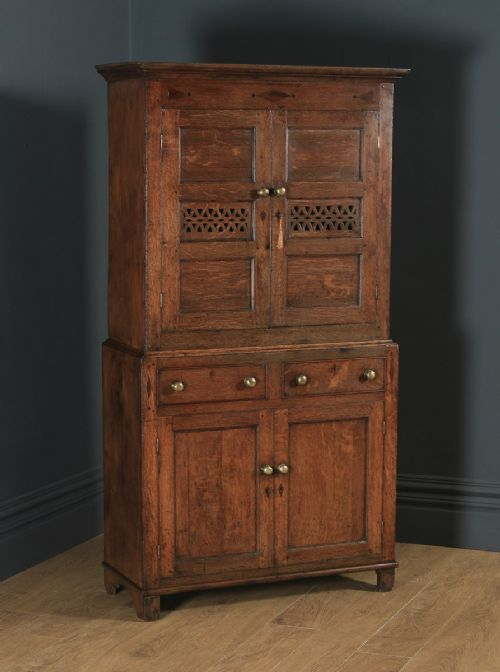 antique welsh georgian oak cwpwrdd bara caws or bread cheese food inlaid kitchen housekeepers cupboard circa 1810