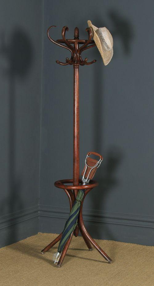 antique english edwardian bentwood coat hat stick umbrella circular hallstand circa 1910