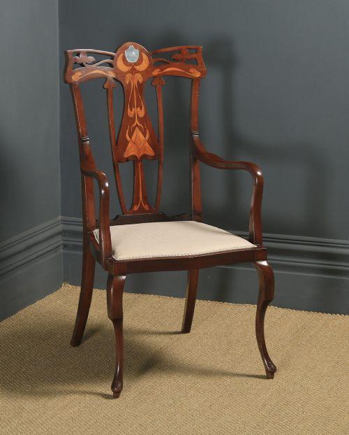 antique english edwardian art nouveau jugendstil marquetry inlaid mahogany occasional salon carver arm chair circa 1910
