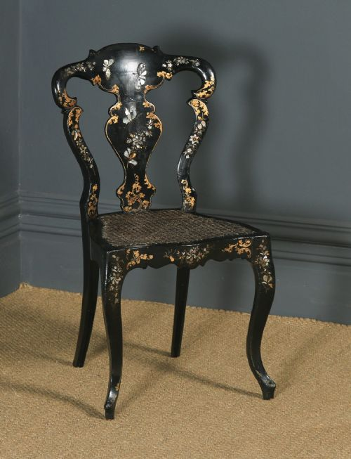 antique english victorian ebonised gilt mother of pearl chinoiserie occasional side chair circa 1850