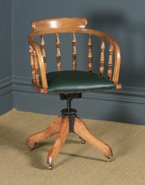 antique english edwardian solid ash green leather revolving office desk arm chair circa 1910