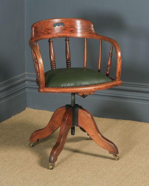 antique english edwardian solid ash oak green leather revolving office desk arm chair circa 1910