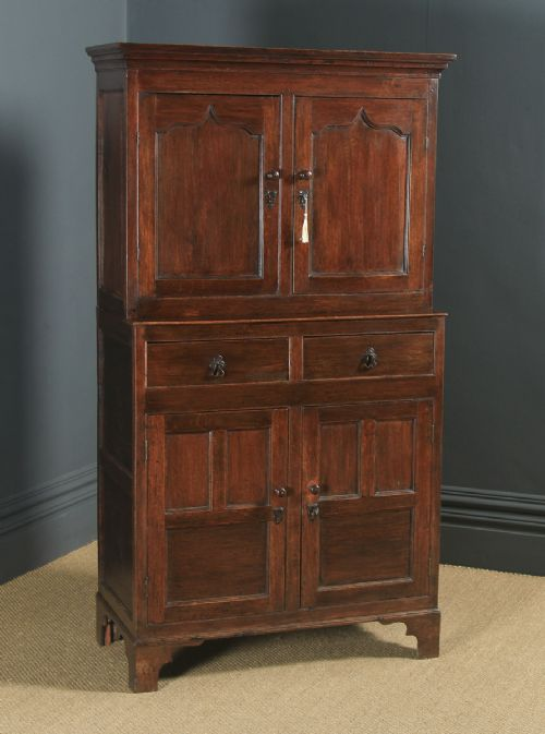 antique welsh 18th century georgian oak livery press housekeepers cupboard circa 1780