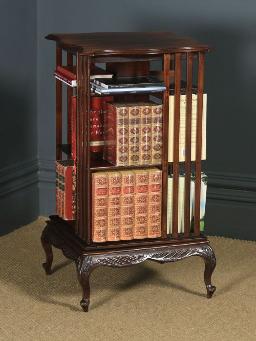 antique english edwardian mahogany revolving bookcase shelf stand table circa 1910