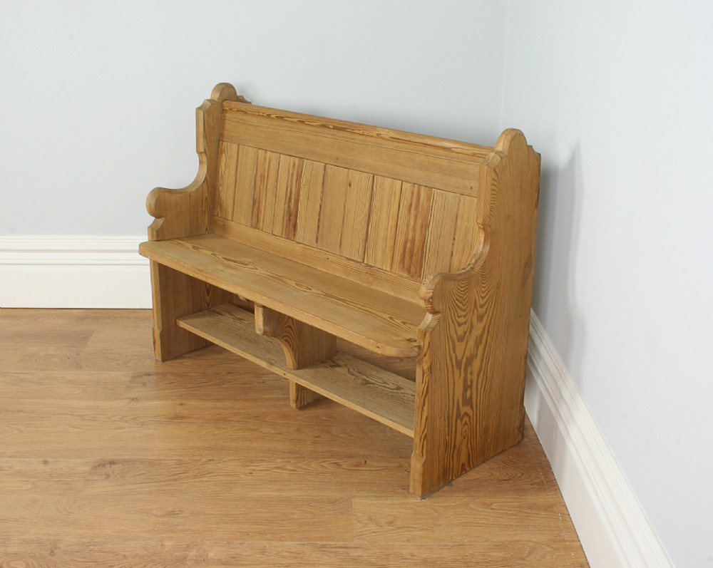 Victorian 4ft Pitch Pine Church Pew Circa 1860 1880 246349