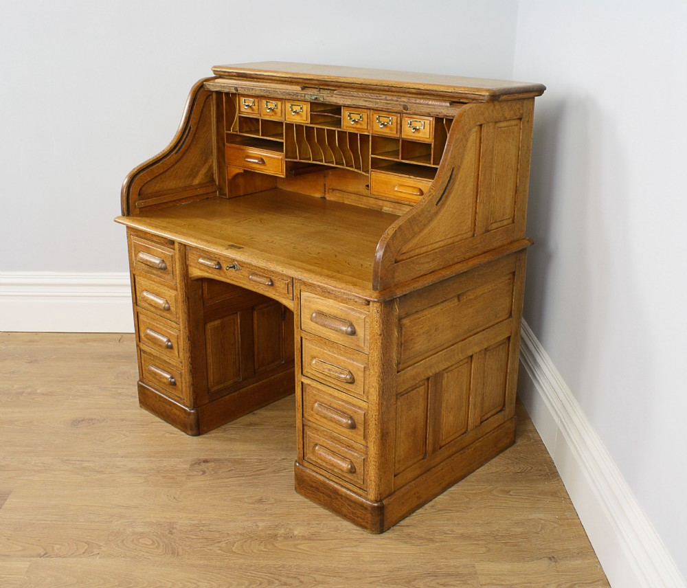 4ft 2 Victorian Oak Roll Top Pedestal Desk Circa 1880