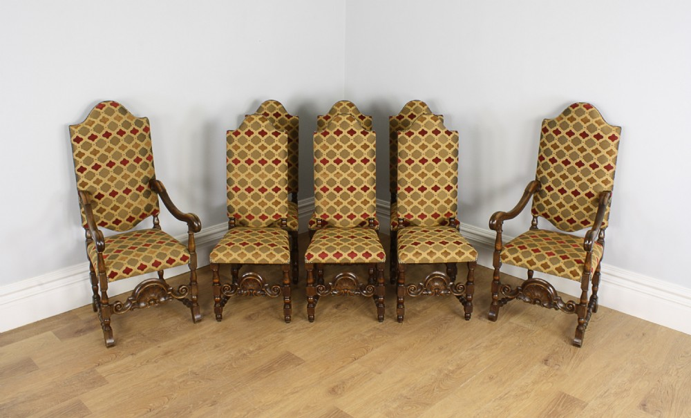 8 French Carolean Revival Walnut Upholstered Dining Chairs Circa 1860 1880 Antique Photo