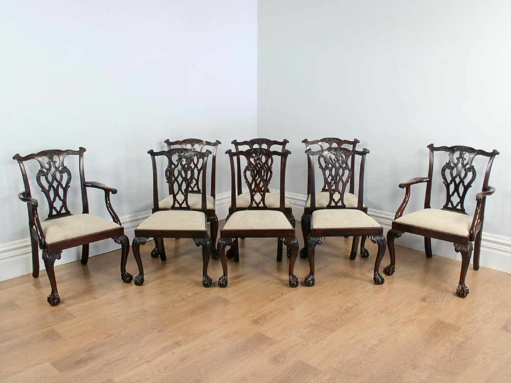 set of 8 chippendale style carved mahogany dining chairs circa 1900 - Set Of 8 Chippendale Style Carved Mahogany Dining Chairs (circa 1900