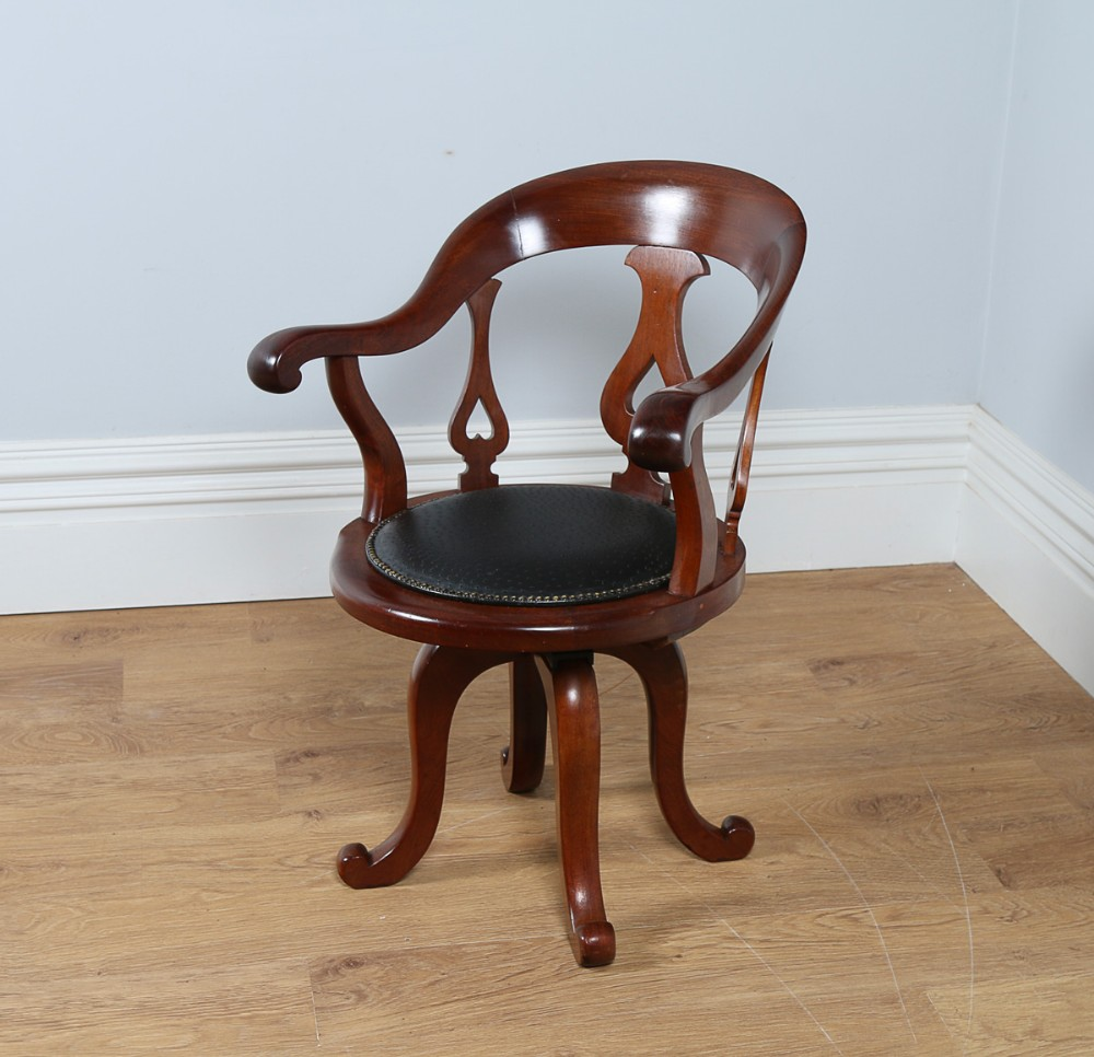 Victorian Mahogany & Ostrich Leather Revolving Office ...