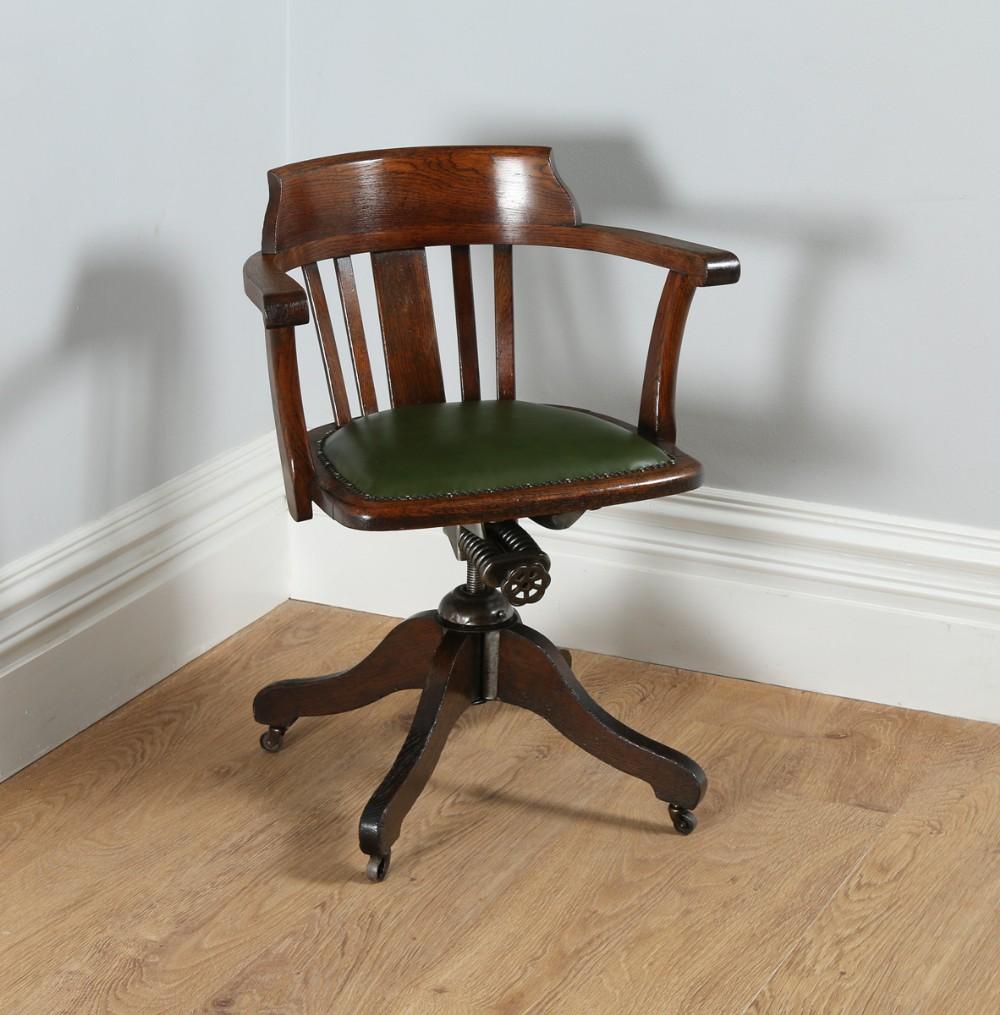 Edwardian Oak Amp Green Leather Revolving Office Desk Chair