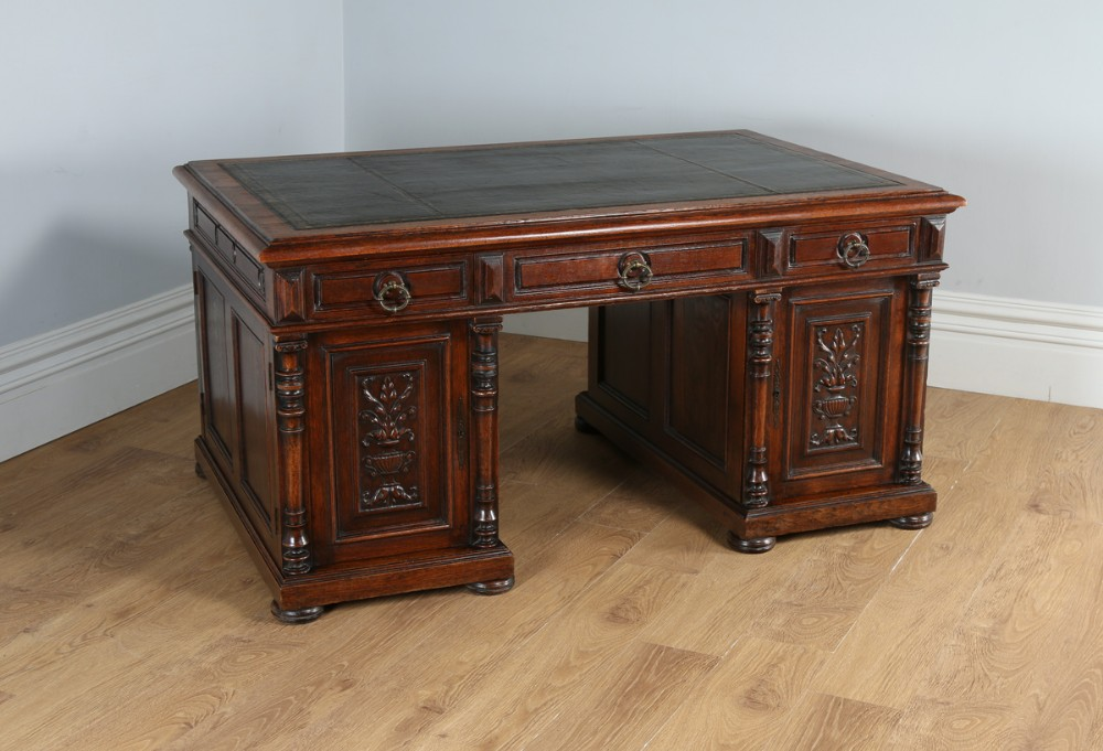 French 5ft 2 Oak Amp Leather Carved Double Sided Partners