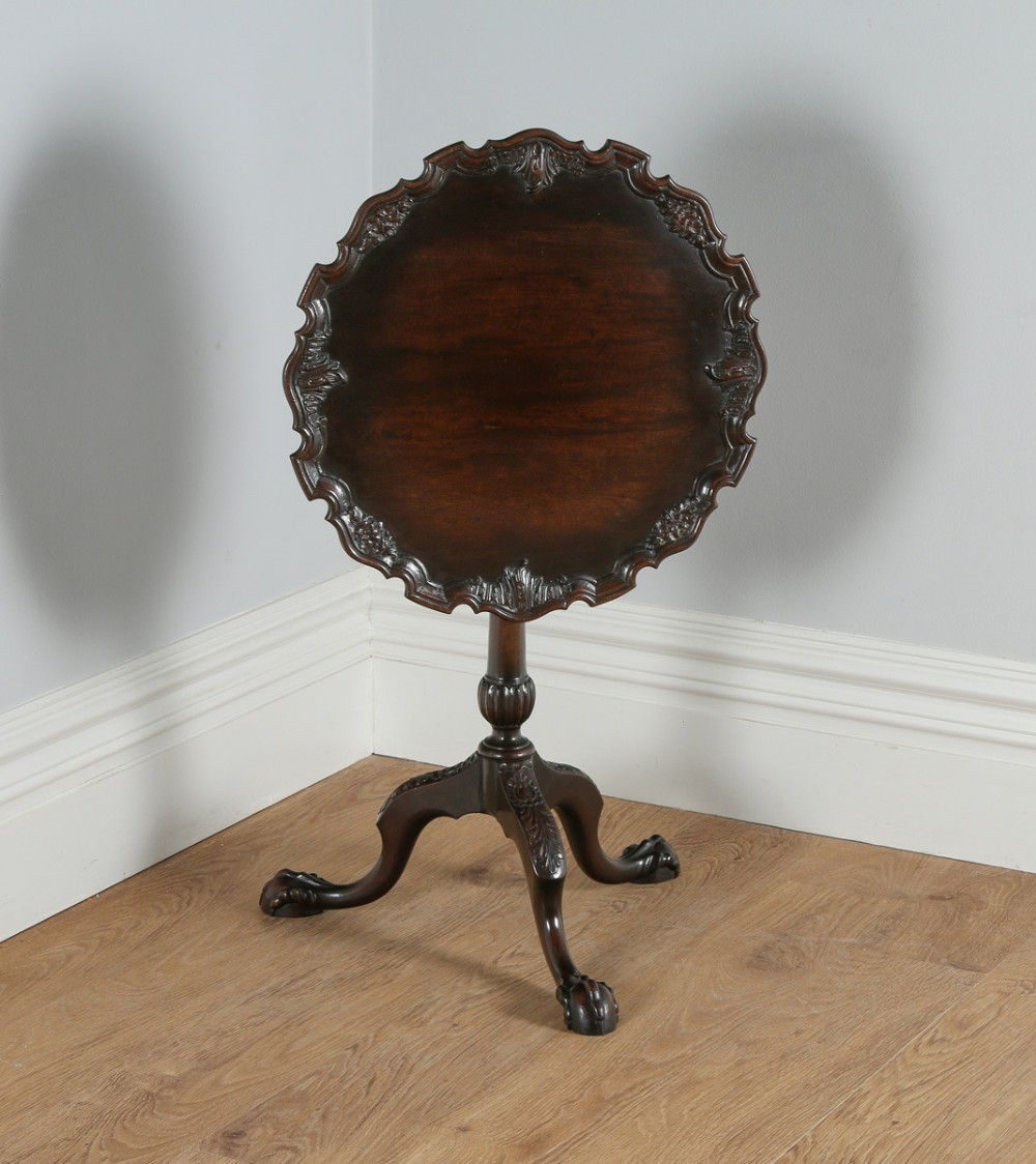 georgian chippendale style english mahogany tilt top bird cage pie crust tripod occasional tea supper wine pedestal circular table circa 1910
