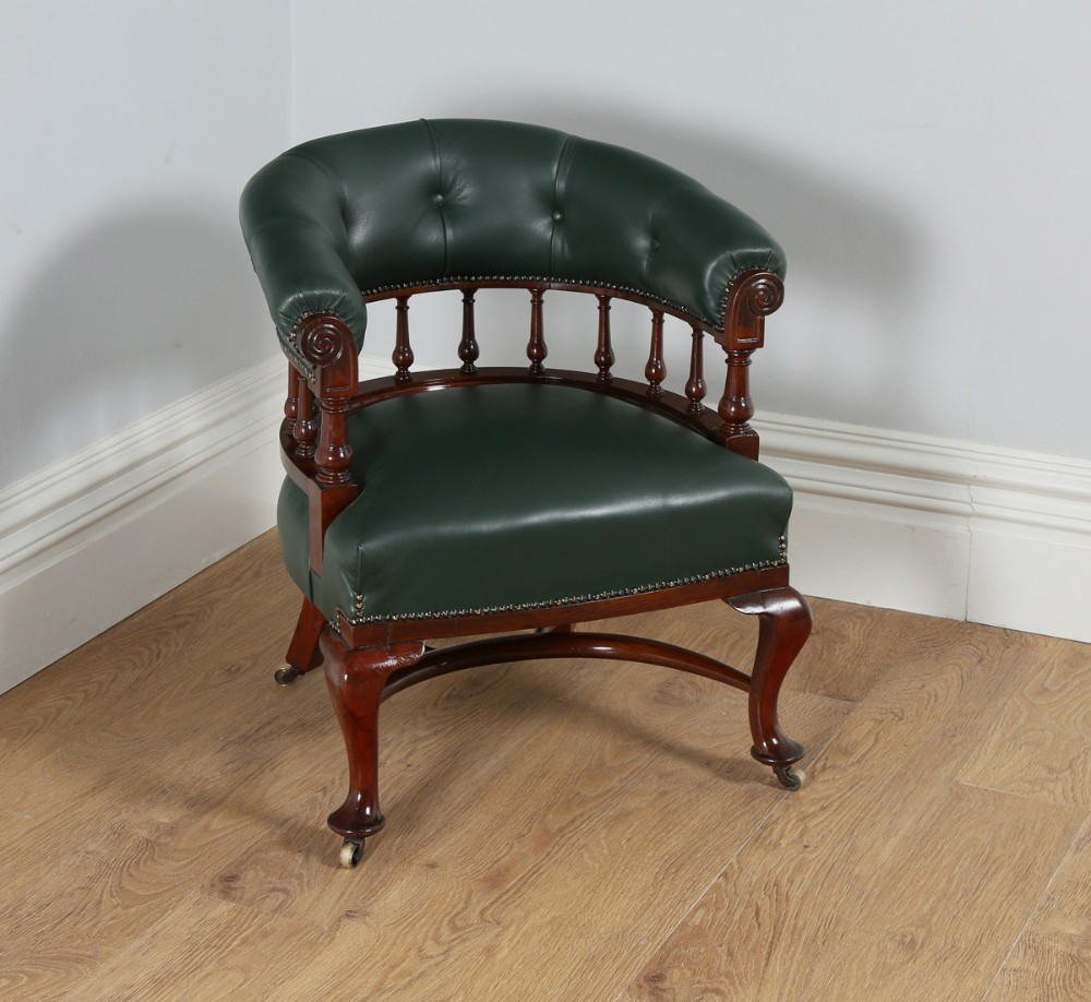 victorian mahogany office green leather desk tub library captains armchair  chair circa 1890 - Victorian Mahogany Office Green Leather Desk Tub Library Captains