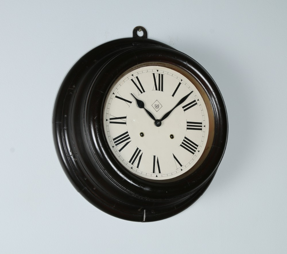 large antique 19 mahogany railway station school round dial wall clock chiming chimer striking striker
