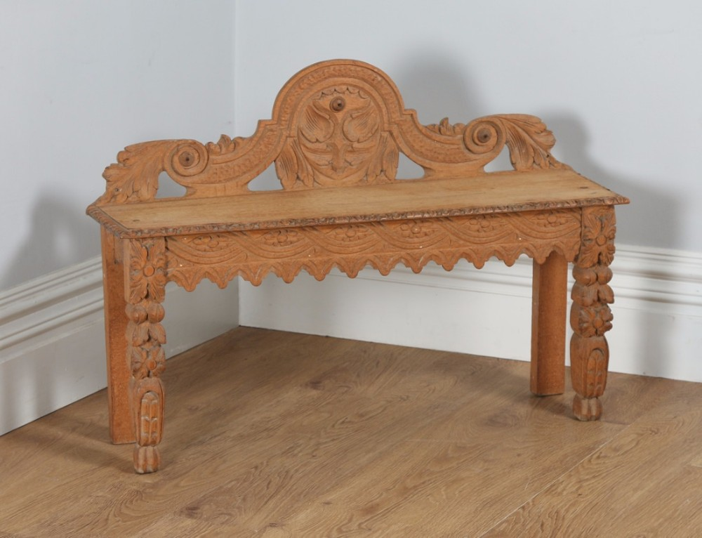 victorian gothic carved scrub oak hall window bench seat stool circa 1860
