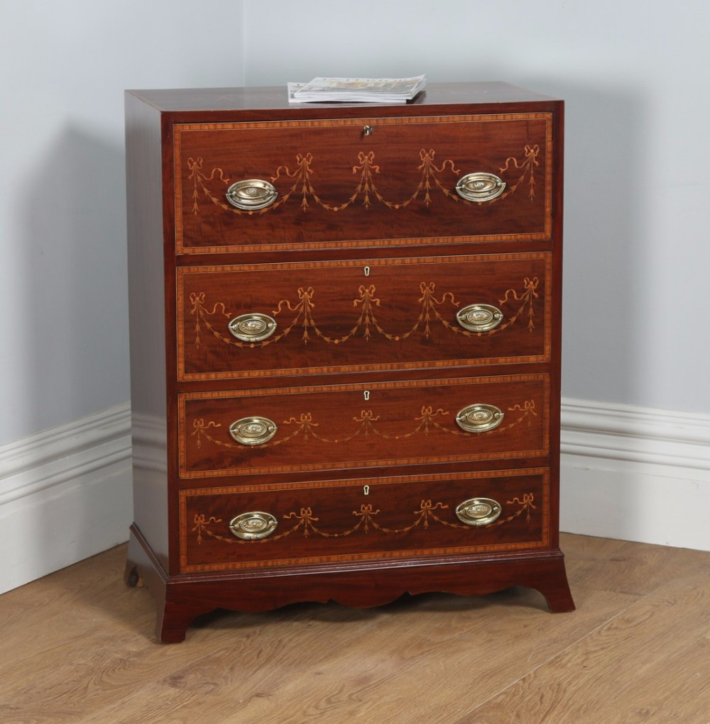 antique regency style edwardian inlaid mahogany secretaire chest of drawers circa 1900