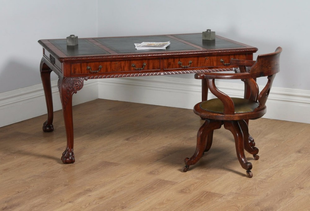 antique english georgian chippendale style 5ft mahogany leather partners library table desk circa 1880