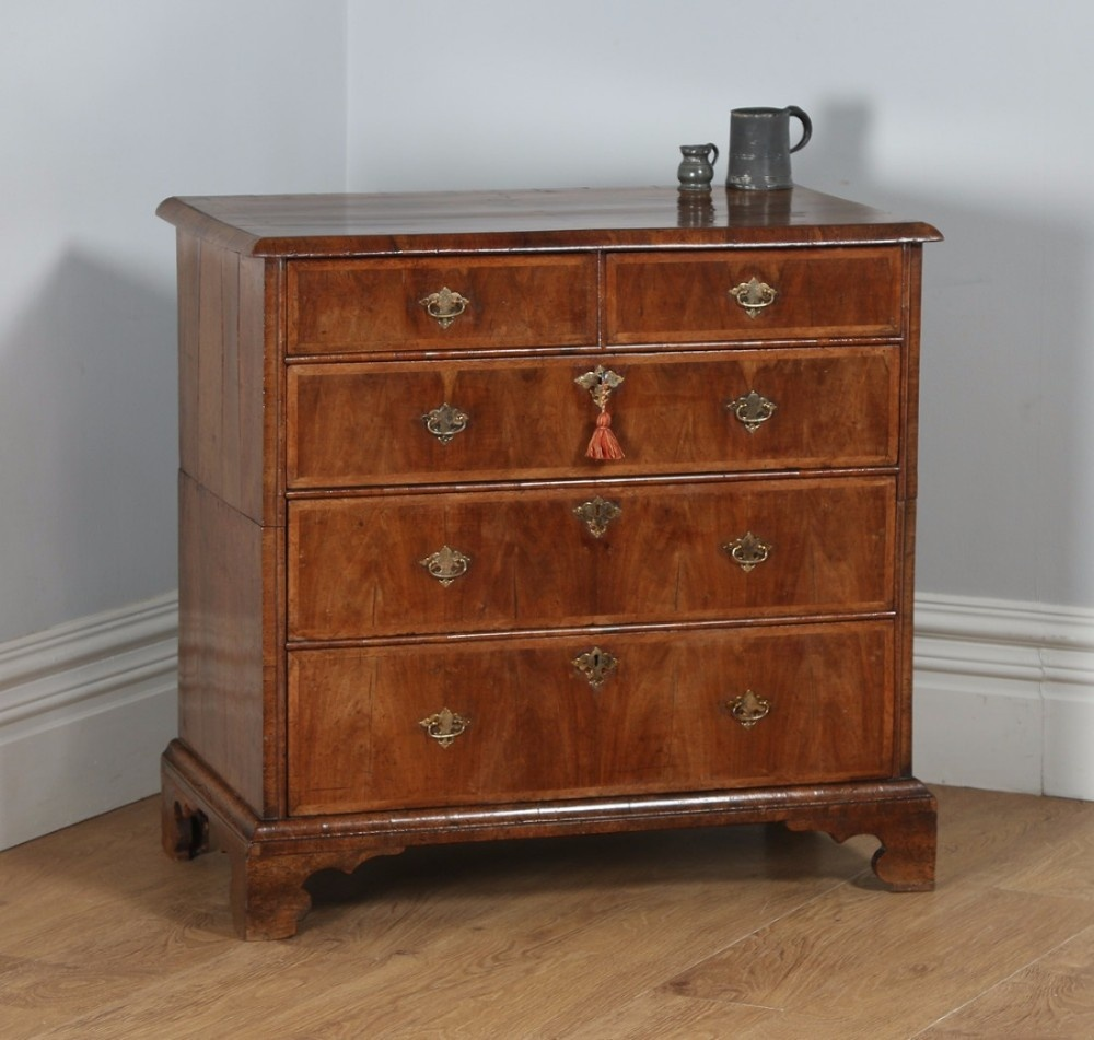 antique english queen anne georgian figured walnut two piece chest of drawers circa 1710