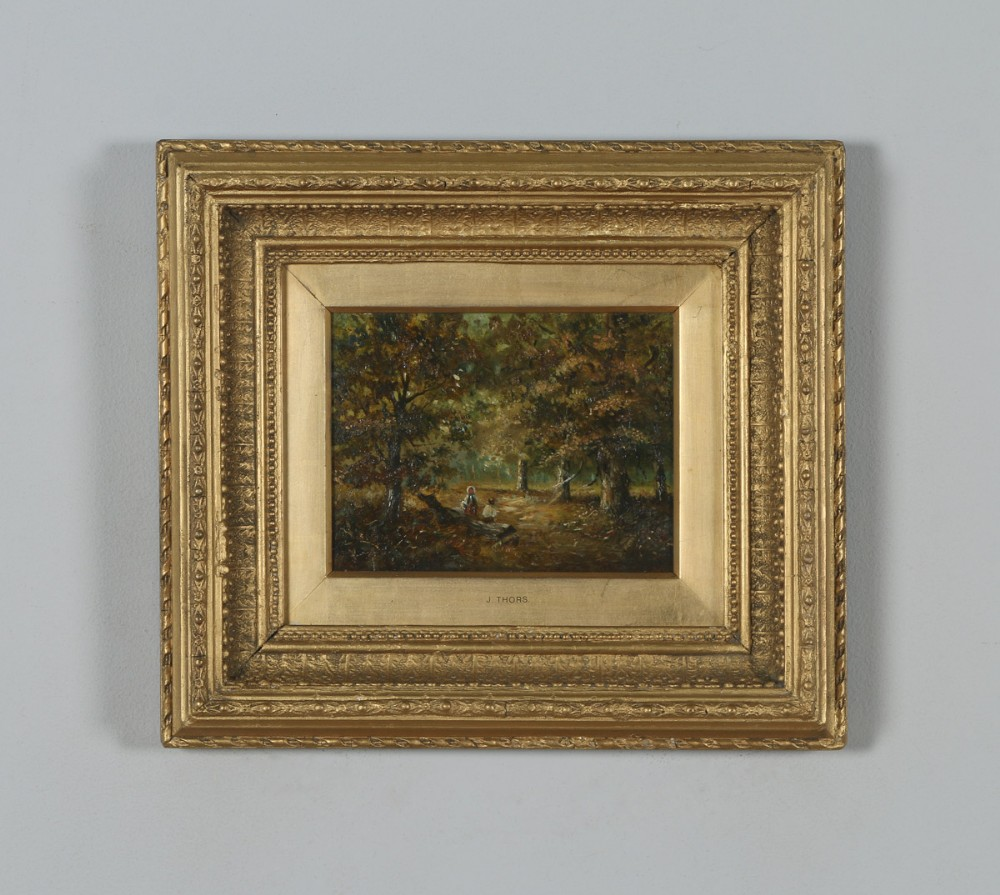 antique english small oil painting of autumnal forest country scene attributable to joseph thors circa 1870
