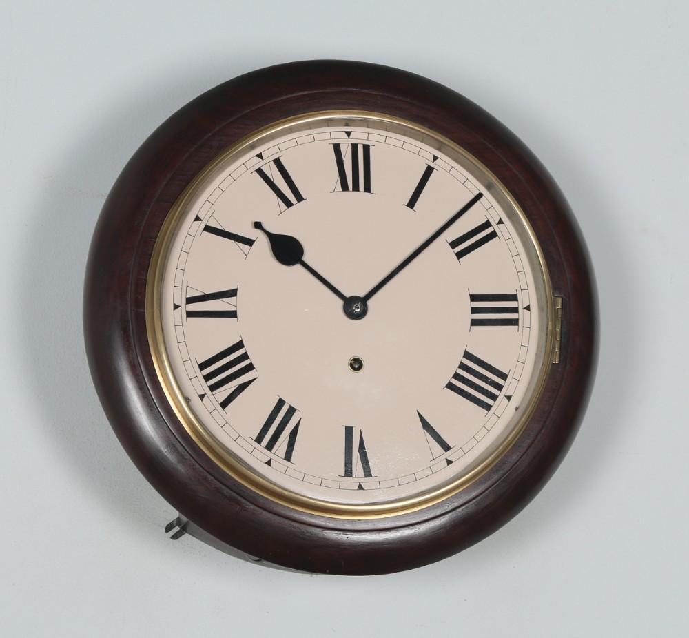 antique 16 mahogany winterhalder hofmeier railway station school round dial wall clock timepiece