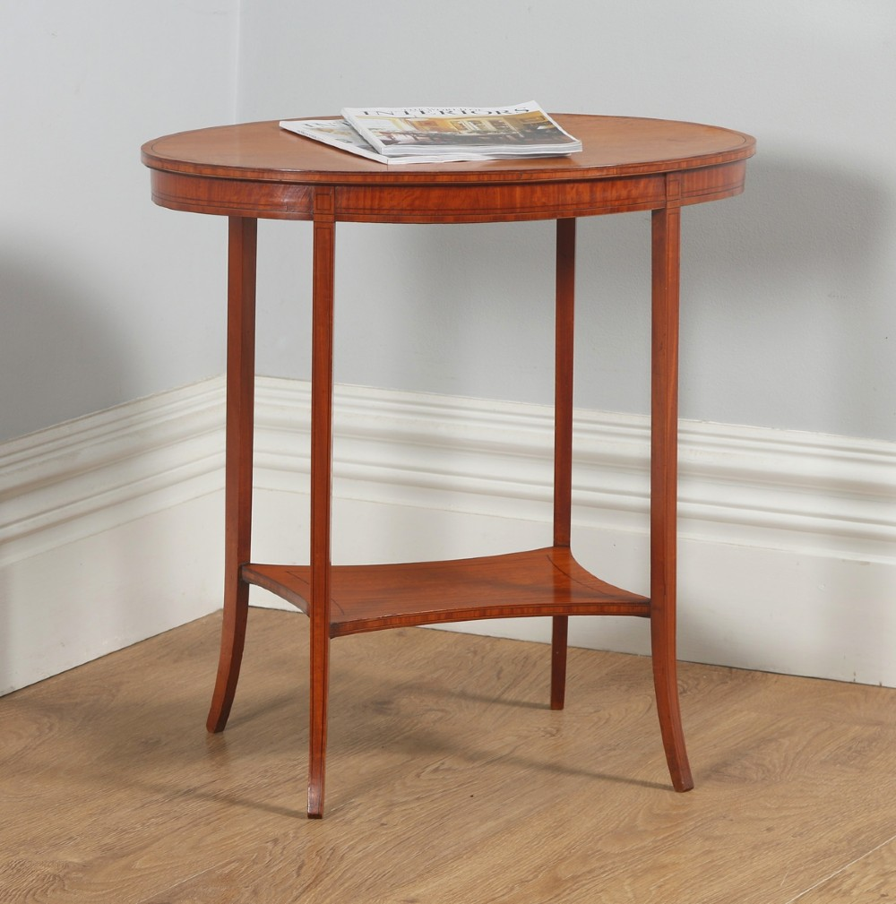antique english edwardian sheraton style satinwood marquetry oval occasional centre side table circa 1905