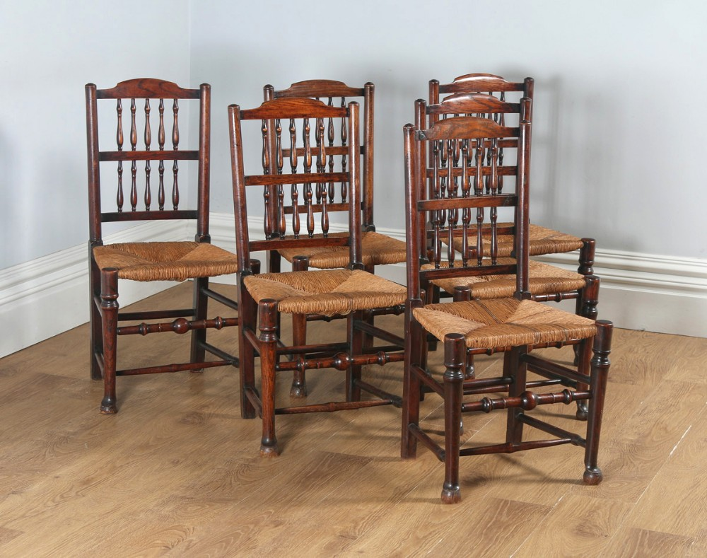 1816cb2c41148 Antique Set Of Six English Georgian Ash   Elm Spindle Back Country  Farmhouse Kitchen Dining Chairs (circa 1790)
