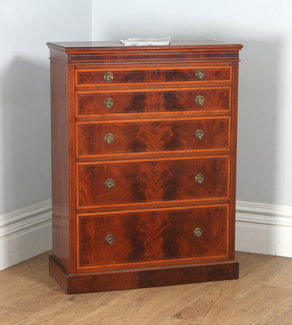 antique english georgian sheraton style flame mahogany satinwood inlaid chest of drawers circa 1900