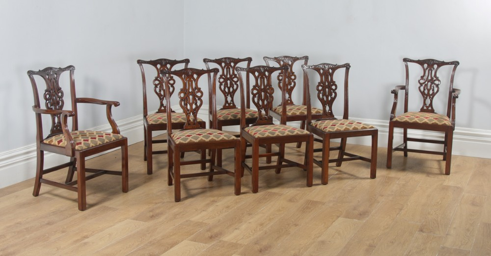 antique english set of eight georgian chippendale style mahogany dining arm side chairs circa 1900