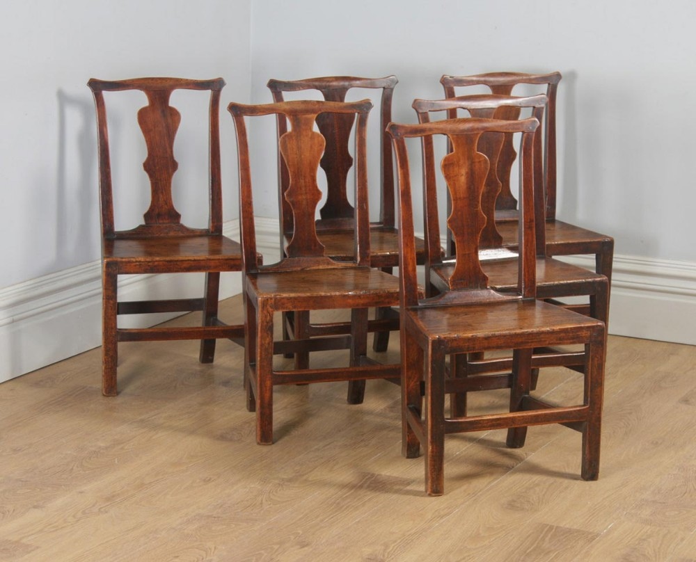 7c283dc2c5722 Antique Set Of Six Georgian Chippendale Elm Country Cottage Kitchen Dining  Chairs (circa 1780)