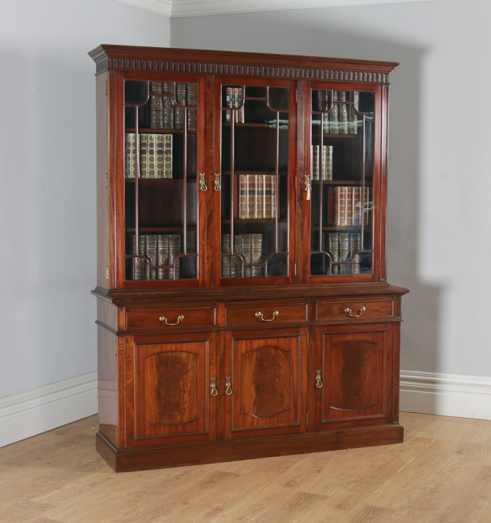 Antique English Georgian Style Flame Mahogany Glazed Library Office Bookcase Cupboard By S H Jewell Of London Circa 1900 561683 Sellingantiques Co Uk