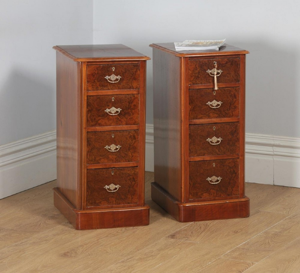 antique pair of english victorian burr walnut bedside chests circa 1880