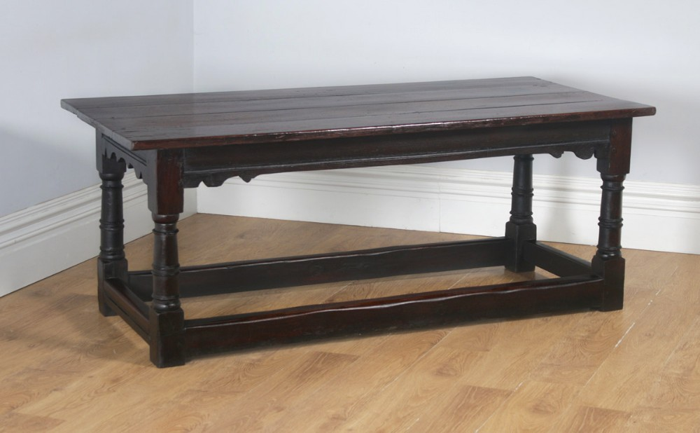 antique english charles ii 6ft 3 solid oak farmhouse kitchen refectory dining table circa 1660