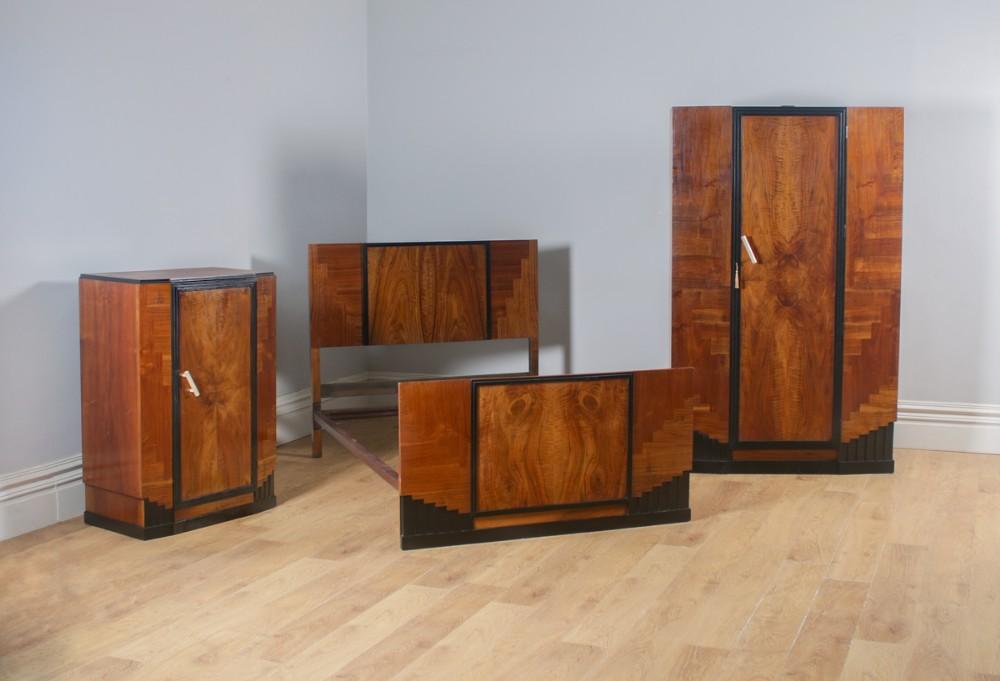 antique english art deco figured walnut three piece bedroom suite bed wardrobe chest of drawers circa 1930