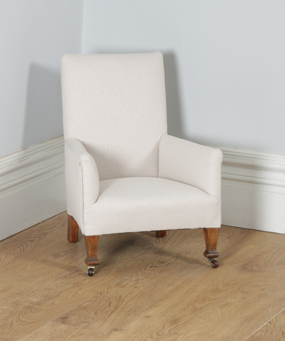 antique english georgian style george v beech upholstered childrens nursery wing arm chair circa 1920