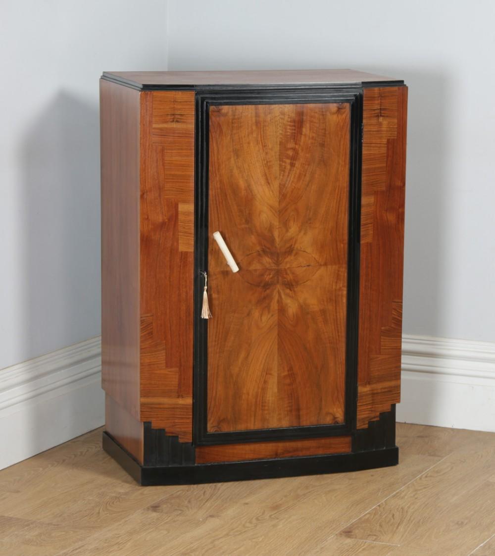 antique english art deco figured walnut ebony tallboy chest of drawers circa 1930