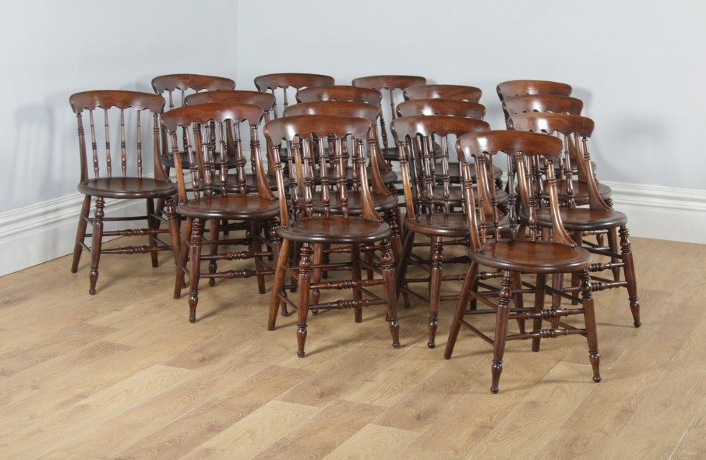 antique english set of sixteen 16 victorian ash elm windsor spindle bar back kitchen dining chairs circa 1880