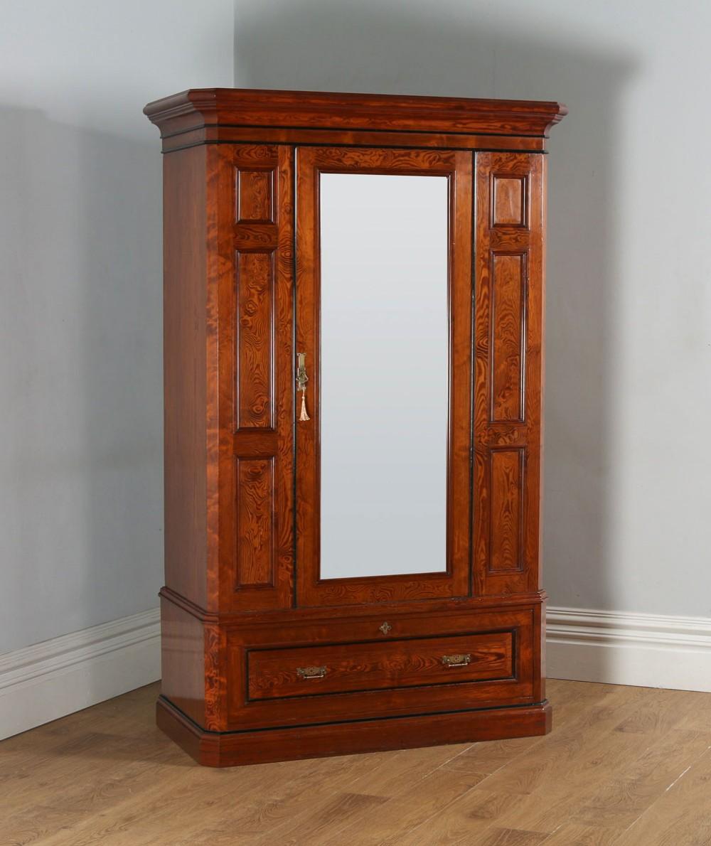 antique english victorian gothic pitch pine wardrobe cupboard linen press circa 1890
