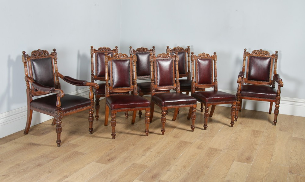 antique english set of eight victorian oak upholstered burgundy red leather carved boardroom dining chairs circa 1880